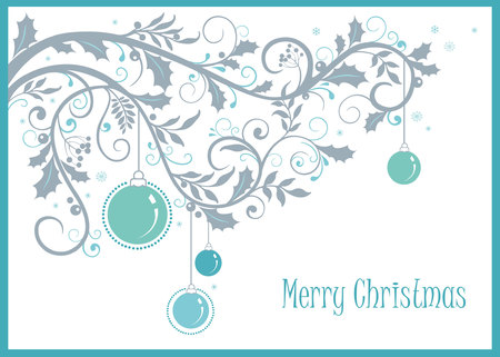 Christmas and new year background with decorative ornament and balls. Vector Illustration. Xmas card