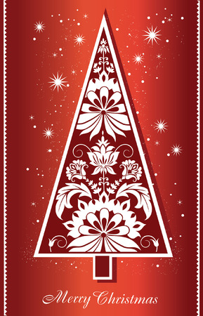 Merry Christmas and New Year background with decorative Christmas tree.Vector Illustration. Xmas card 일러스트
