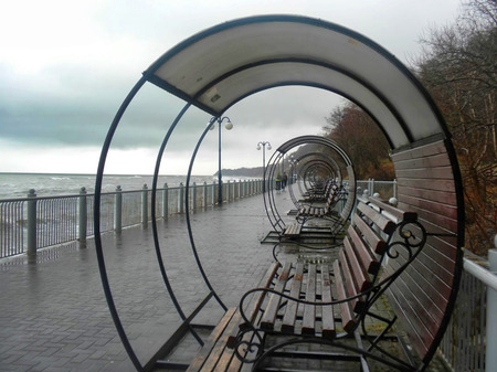visor: the storm at sea, a bench on the sea, round visor, promenade