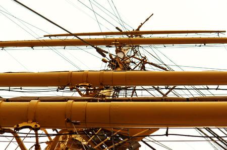 bollard: marine supplies, sailboat, rope, bollard, rope, rescue boat, mast Stock Photo