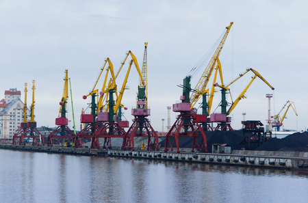 loading and unloading terminal at the port, cranes, coal, wagon, cargo, cargo terminal