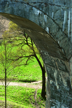 concrete viaduct in the woods abutment of the bridge rail Stock Photo