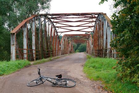 old abandoned railway bridge Stock Photo