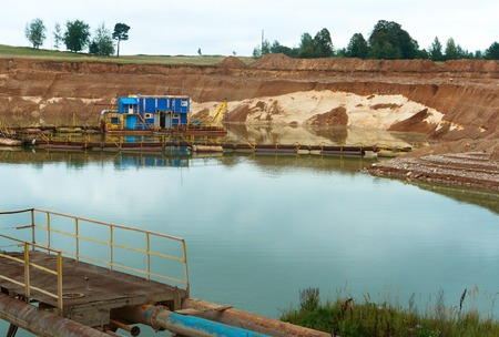 mining of building sand underwater method, a dredger for skimming and washing of sand