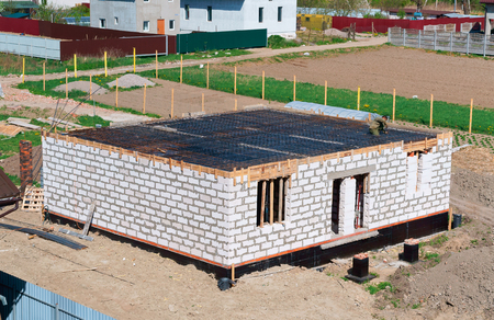 cement-filled Foundation of a private house, the Foundation of the house under construction, fresh concrete Foundation