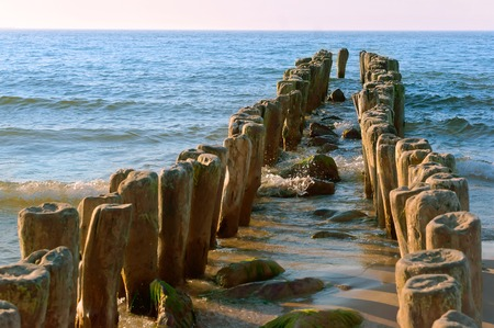 a breakwater made of wood, the groynes in the sea, sea waves protection from