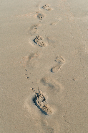 human footprints in the sand, footprints in the sea sand