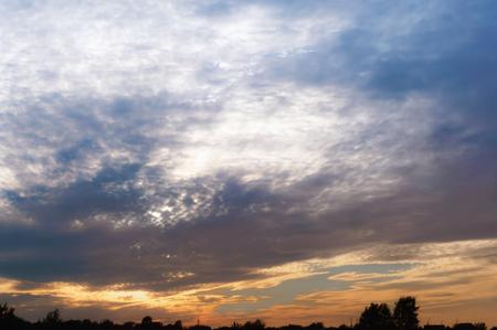 purple sky at sunset, pink purple clouds at sunrise Stock Photo