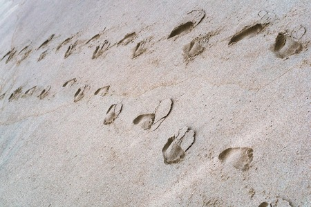 footprints in the sand, footprints of two people in the sea sand