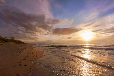 sunset on the sea, sunrise on the sea coast