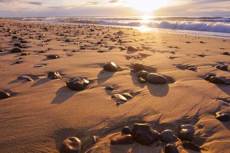 seashore at sunset, sea stones in the light of the sun Stockfoto