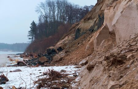 landslides and destruction to the shores of the sea, steep coast of the sea