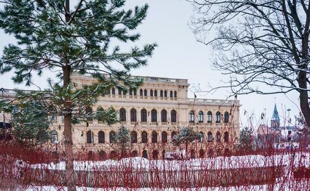 Palace of culture of sailors, building of the Konigsberg exchange, Museum of fine arts, Regional center of youth culture, Leninsky avenue, 83, Kaliningrad, Russia, Eastern Europe, January 8, 2019 Editorial