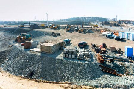 Bau von Straßenkreuzungen in der Region, Bau der nördlichen Umgehungsstraße, Gebiet Kaliningrad, Russland, 30. März 2019