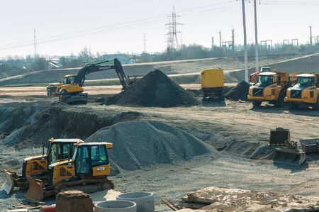 construction of road junctions in the region, construction of the Northern bypass road, Kaliningrad region, Russia, March 30, 2019