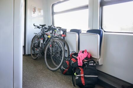 bicycles on the train, travel with a Bicycle and bags on the train, Kaliningrad region, Russia, August 3, 2019