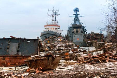 ship graveyard, decommissioned military vessels, Baltiysk, Baltic sea, Kaliningrad region, Russia February 2019
