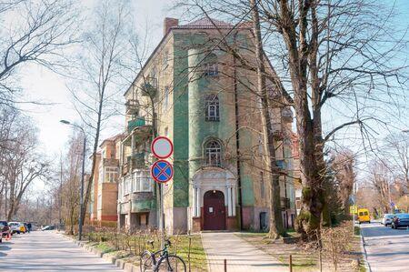Old green residential building, beautiful old German house, Shota Rustaveli street, Kaliningrad, Russia, June 16, 2019 報道画像