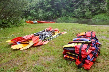 kayaks paddles life jackets, items for kayaking