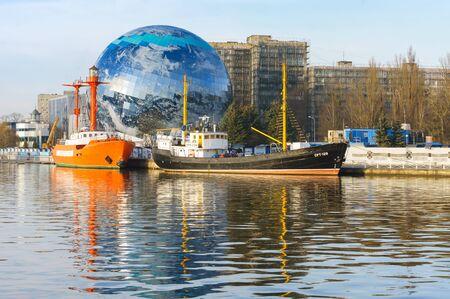floating lighthouse Irbensky world ocean Museum, Kaliningrad, Russia, December 19, 2019 報道画像