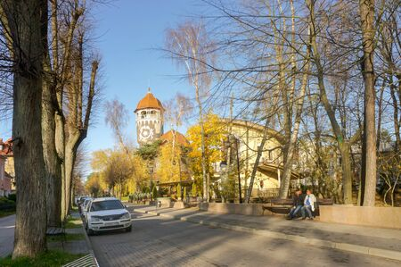 water tower, Spa building, building in the style of national romanticism, architect Otto Walter Kukkuk, Raushen, Svetlogorsk, Kaliningrad region, Russia, November 17, 2019