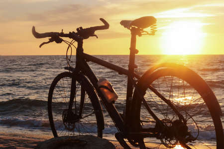 black bike by the sea, bike and sunset by the sea