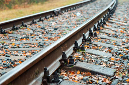 railway bolts, rails and sleepers Banco de Imagens
