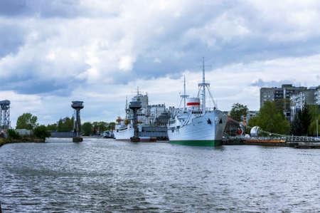Museum flotilla, Museum of the world ocean in Kaliningrad, ships Museum exhibits, Kaliningrad, Russia, May 3, 2020