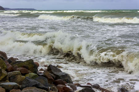 the Baltic sea, storm on the sea in summer, beautiful big waves