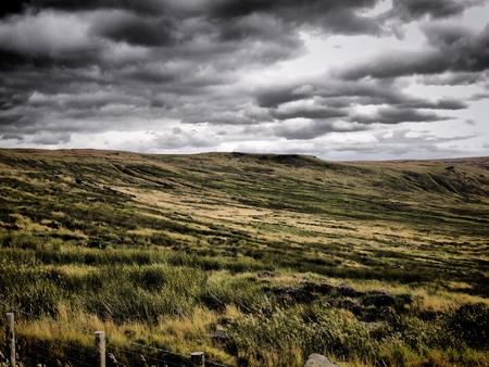 rugged terrain: Atmospheric landscape image of Saddleworth Moor, Yorkshire.