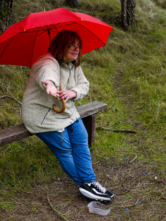 expects: A woman sitting on a bench checking for rain from under a red umbrella. Stock Photo