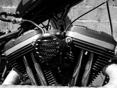 twin engine: Black and crome v twin engine and air filter.