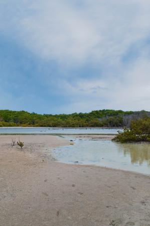 dreamlike: sky, land, water and sand Stock Photo