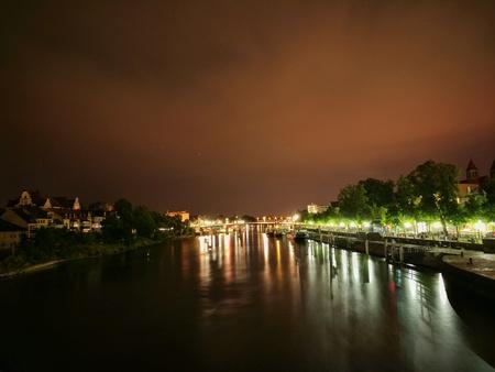 Danube in Regensburg at night
