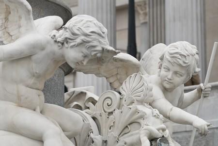 pallas: the famous sculptures around the austrian parliament dedicated to the greek goddess pallas athena Stock Photo