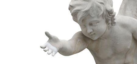 angel de la guarda: un �ngel dando una mano aislada en blanco con el espacio de la copia