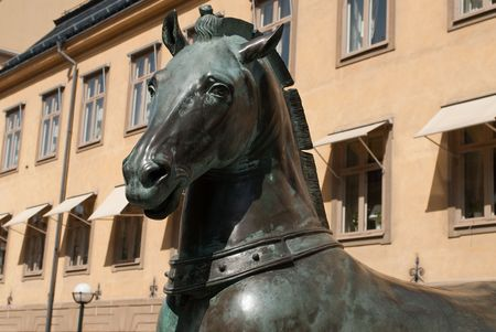 the famous horse statue in the old town of stockholm photo