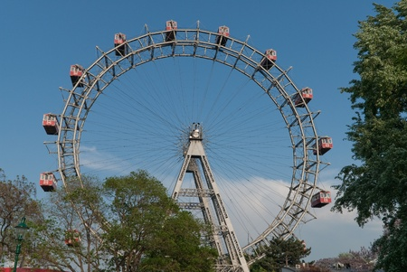 the famous viennese giant wheel located in the prater in the second district of vienna photo