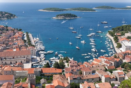 former yugoslavia: the city of hvar and its harbor at the adriatic sea in croatia