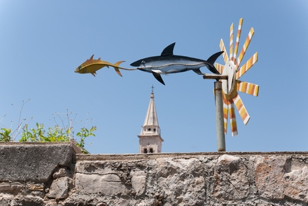wind chime: a wind chime where one fish is hunting another Stock Photo