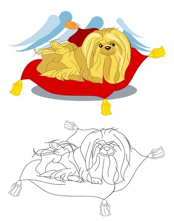 Chinese cute dog sitting on the pillow. Vector image