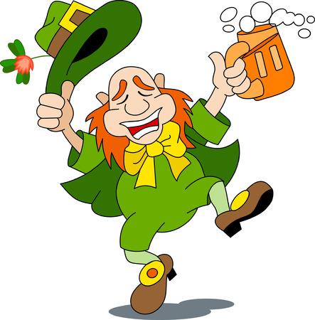 A leprechaun is dancing with beer
