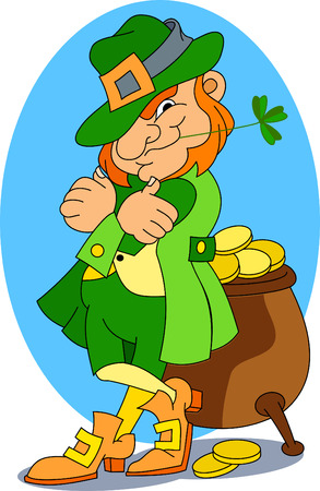 A leprechaun stand guard of his pot of gold