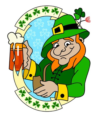 A leprechaun with glass of beer Vector