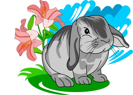 fleecy: Cute gray bunny sitting with flowers