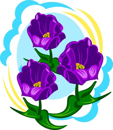 Black tulips on a spring flowerbed Vector