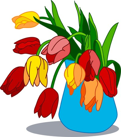 Spring bouquet of tender flowers in the blue vase Vector
