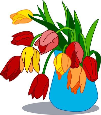 Primavera ramo de flores de licitación en el jarrón azul