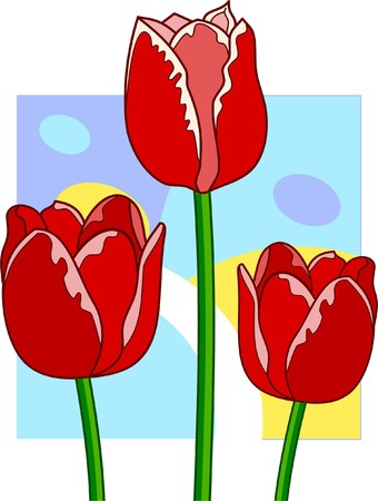 Three red cute tulips on abstract background Vector