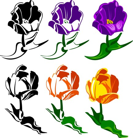 Several tulips Vector